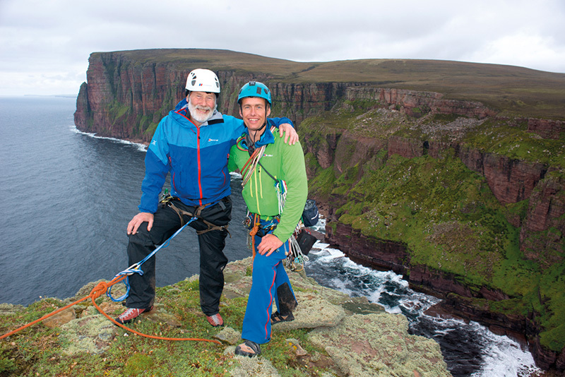 Sir Chris Bonington and Leo Houlding on the summit of The Old Man of Hoy, Orkney Islands