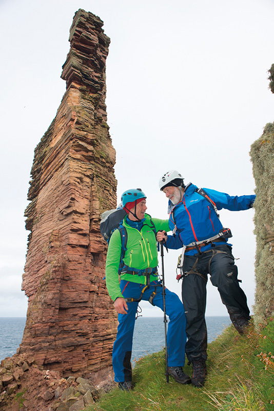 Sir Chris Bonington and Leo Houlding in front of The Old Man of Hoy, Orkney Islands