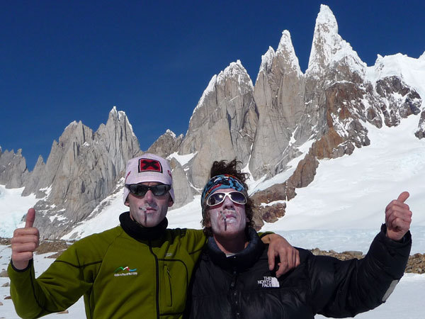 Fabio Salini e Matteo Bernasconi e lo splendido versante ovest del gruppo del Cerro Torre , arch. M. Bernasconi, F. Salini