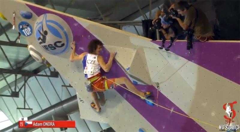 Adam Ondra on his way to winning the Lead World Championship 2014 at Gijón, Spain