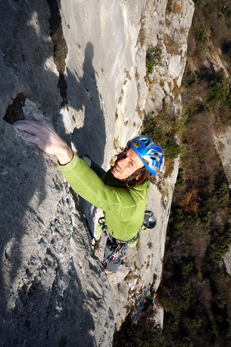 Florian Riegler on the jugs after the crux roof of Pandora, Duck Young Im