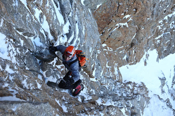 Ueli Steck during his December 2008 speed solo of the Colton Macintyre (Grandes Jorasses) in 2 hours 21 minutes., Jonathan Griffith