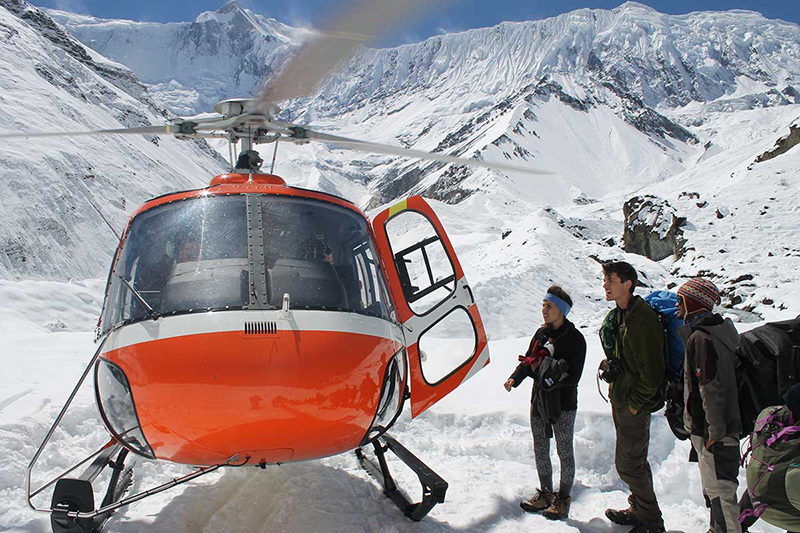 Helicopter rescue operation in Nepal after the deadly blizzard in October 2014