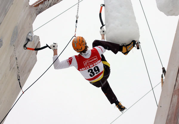 Markus Bendler, winner of the first stage of the 2009 Ice Master World Cup in Valle di Daone, Italy., www.daoneicemaster.it