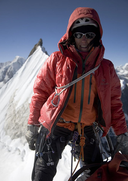 Ines Papert on the summit of Kwangde Shar, Nepal, Cory Richards