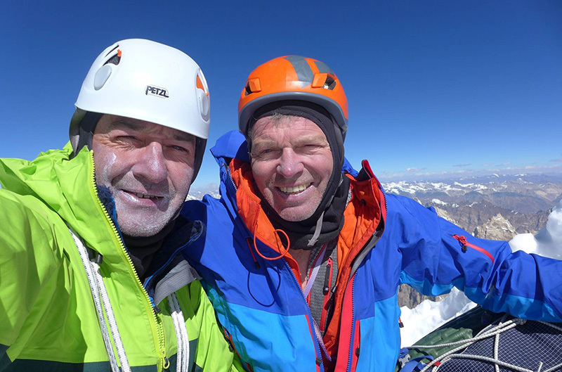 Paul Ramsden and Mick Fowler on the summit of Hagshu (6,515m) after having made the first ascent of the NE Face, Kishtwar, Himalaya
