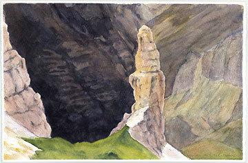 Campanile di Val Montanaia, Dolomiti. Acquerello 37.7 x 24.8, Riccarda de Eccher