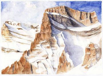 Pelmo, Dolomiti. Acquerello 76 x 56, Riccarda de Eccher