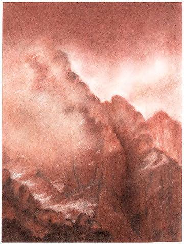 Antelao, Dolomiti. Sanguigna 30.5 x 40.6, Riccarda de Eccher