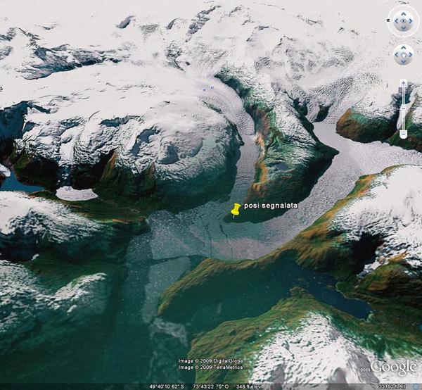 Un'immagine della costa con indicato il possibile punto di imbarco., Planetmountain.com