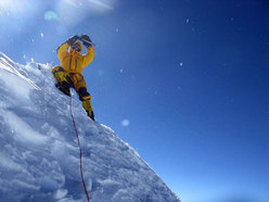 Simone Moro on the summit of Makalu, arch. S. Moro
