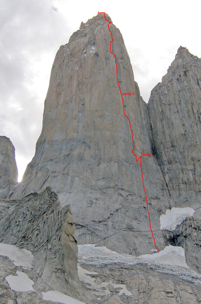 The striking line of ascent of South African route which takes the clearcut dihedral up the East Face Central Tower, Paine, Chile. First climbed in 1973/74, it now goes free at 7b+., Ben Ditto