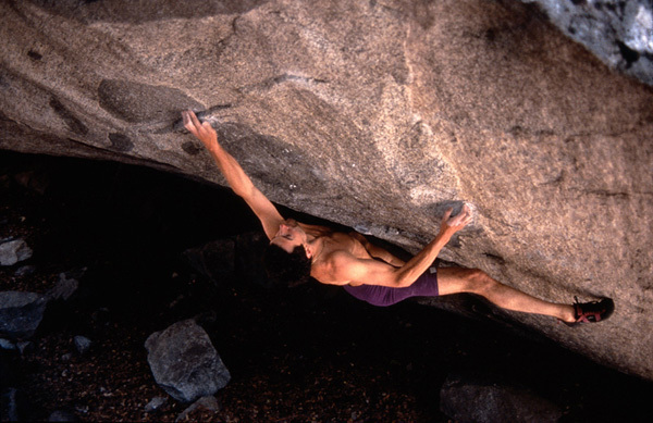 Jerry Moffatt making the first ascent of the Dominator, Camp 4, Yosemite in 1993. , Kurt Albert