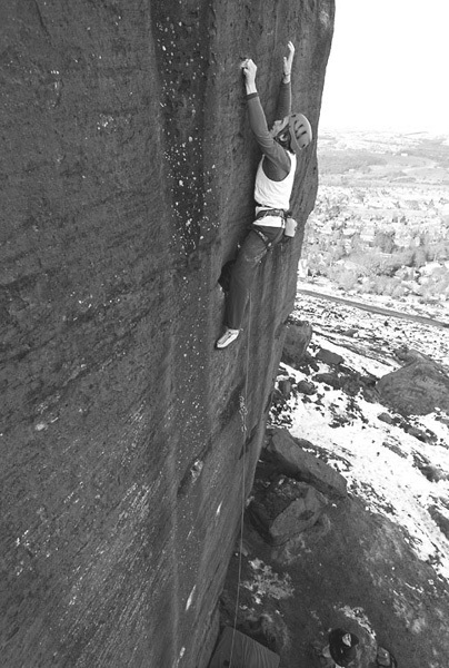 James Pearson making the first repeat of Gerty Berwick at Ilkley, England. The route was first ascended by Ryan Pasquill on 10/01/2009., David Simmonite