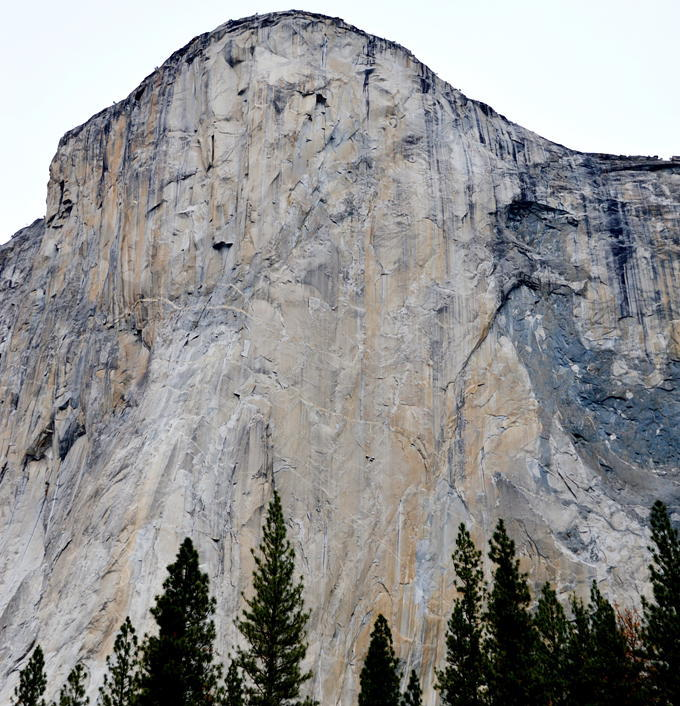 The portaledge camp of Tommy Caldwell and Kevin Jorgeson  can be made out at half-height on their Dawn Wall push, El Capitan, Yosemite