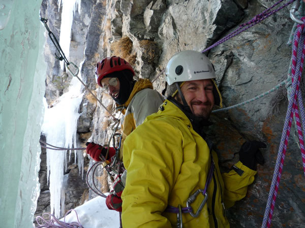 First belay on Buon compleanno (Gole di Gondo, Switzerland), arch. Antonio Esposito