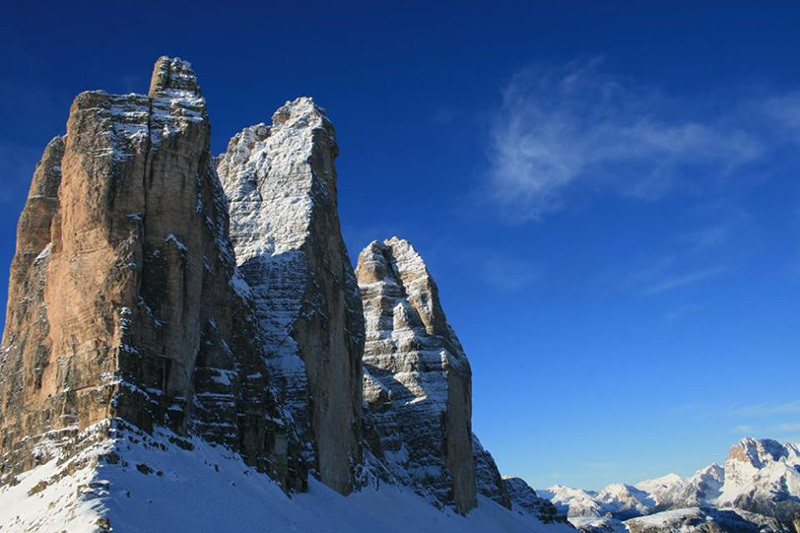 Tom Ballard during his winter ascent of the Comici - Dimai route on the N Face of Cima Grande di Lavaredo, Dolomites on 21 and 22 December 2014.