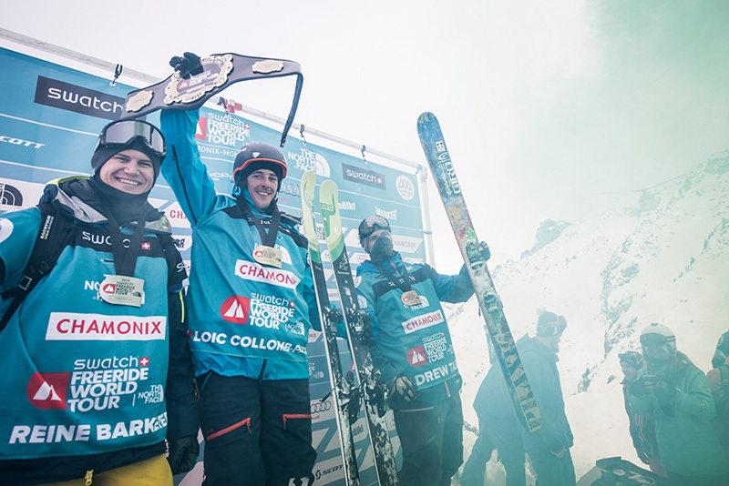 Podium maschile del FWT15 Chamonix Mont-Blanc: Reine Barkered, Loic Collomb Patton, Drew Tabke, David Carlier / Swatch Freeride World Tour by The North Face