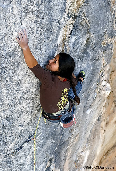 Daila Ojeda during the first ascent of