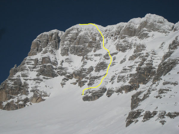 Jof di Montasio and the line of descent line chosen by Luca Vuerich, Julian Alps, Luca Vuerich