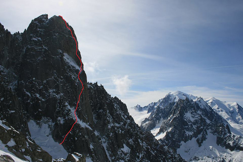 The line of the route climbed by Pierre Allain and Raymond Leininger in 1935.