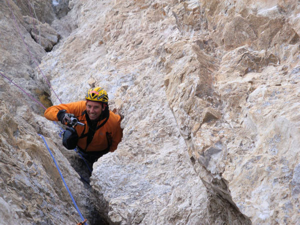 Luca Vuerich during the first winter ascent., arch. L. Vuerich