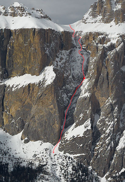 The line of descent. The dotted line marks the section ascended on foot, while the red dot marks the abseil down the icefall., Francesco Tremolada