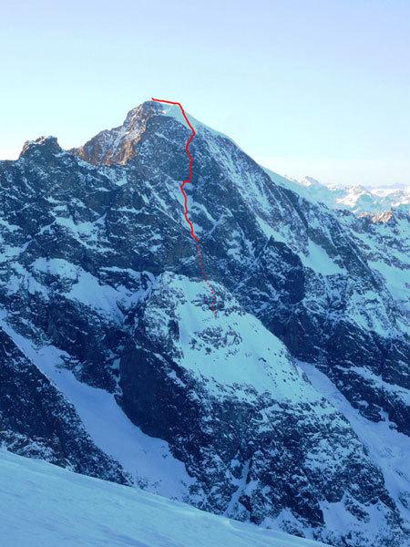 La parete vista dal Piz Palù in una foto dell'inverno scorso, arch. Luca Maspes