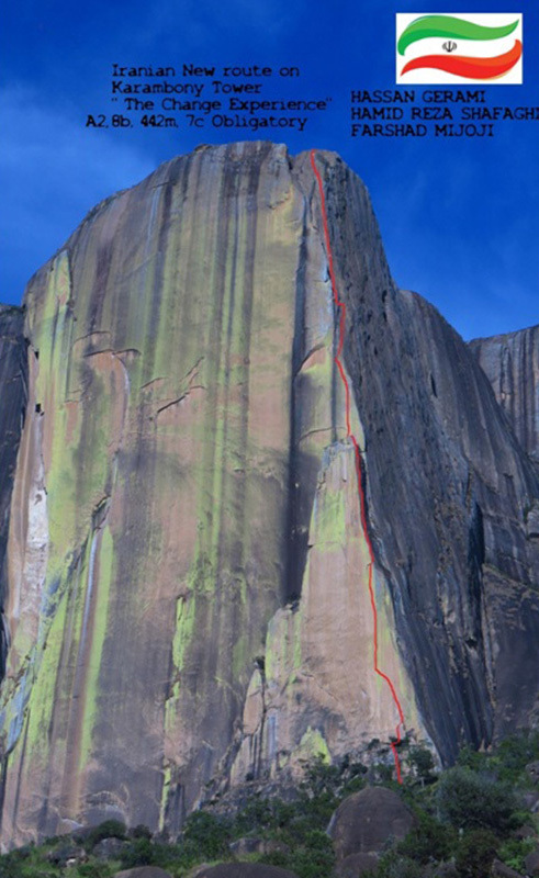The Change Experience (8b, A2 442m), Tsaranoro, Madagascar climbed in April 2015 by Hassan Gerami, Hamid Reza Shafaghi and Farshad Mijoji