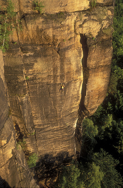 Sandstone sport climbing at Labak (Labske udoli), Elbe valley, Czech Republic., Pavel Zofka