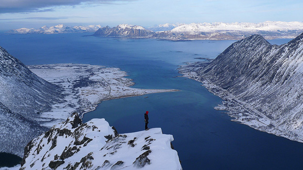 Climbing in one of Europe's last great wilderness areas, the Lofoten islands, Norway., Marko Prezelj
