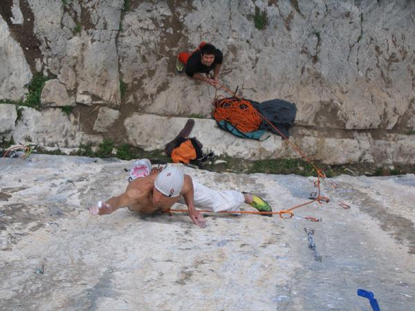 Ricardo Scarian climbing Thin Ice 8c at Terlago., arch. Scarian