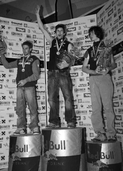 A world class podium Gabriele Moroni, Kilian Fischhuber and Adam Ondra, Red Bull