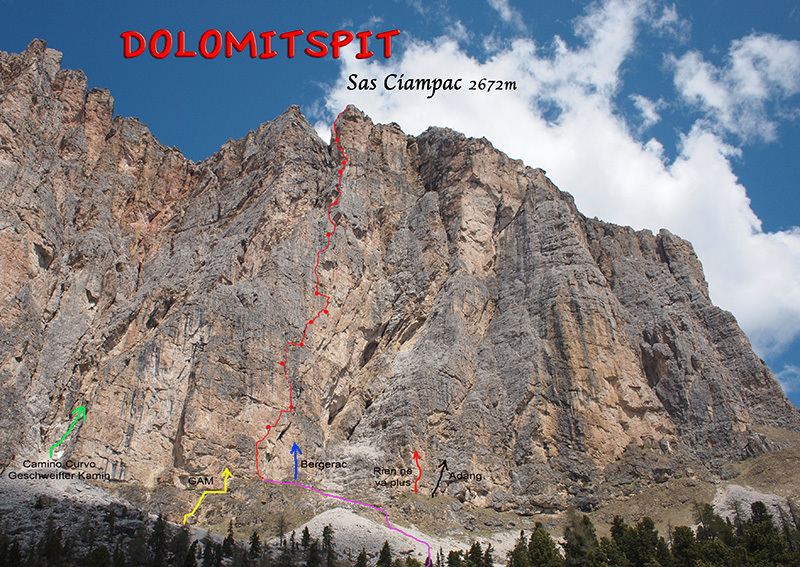 Dolomitspit (530m, VII, VI obl.) new rock climb up the South Face of Sas Ciampac, 2672m, Val Gardena, Dolomites