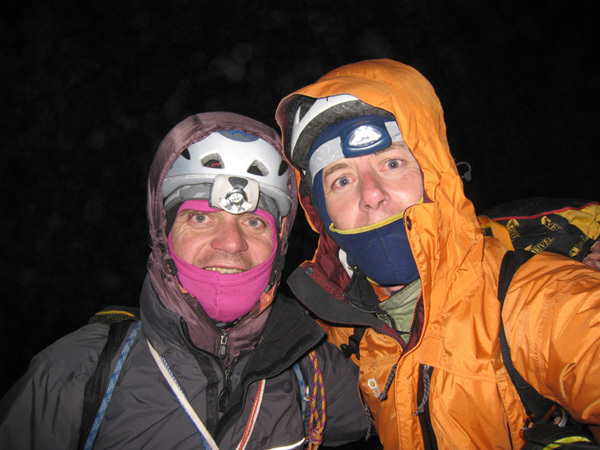 Urban Azman and Boris Lorencic on the summit of Fitz Roy at 3.00am after having climbed Via del Tehuelche, 1300m, 6b+/A2., Boris Lorencic