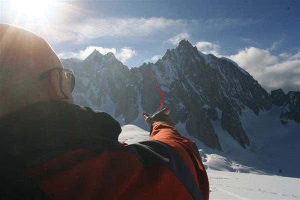 Il tracciato della Goulotte Laratoun al Grand Capucin (Monte Bianco), arch. E. Bonfanti
