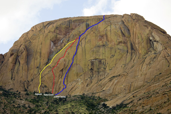 Dogbreath (yellow), Painted Giraffe (red), Southern Crossing (blue), Orabeskopf, Brandberg, Namibia, Gabe Rogel