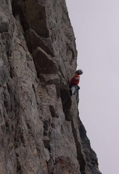 Andrej Grmovsek on the crux pitch of Donnafugata, Torre Trieste, Civetta, Dolomites, Luka Krajnc