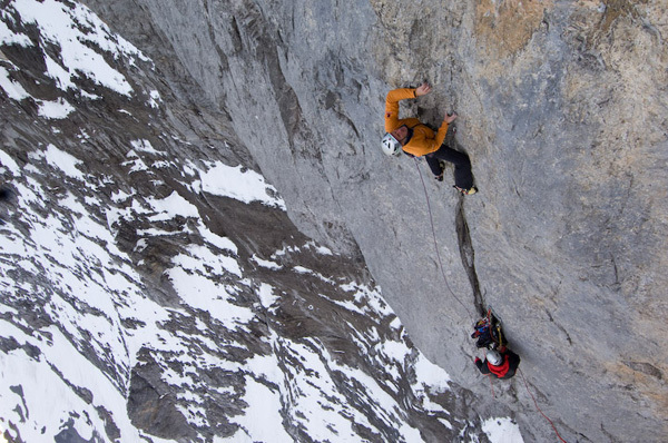 Stephan Siegrist making the first free ascent of Magic Mushroom 7c+,  Eiger, Thomas Senf