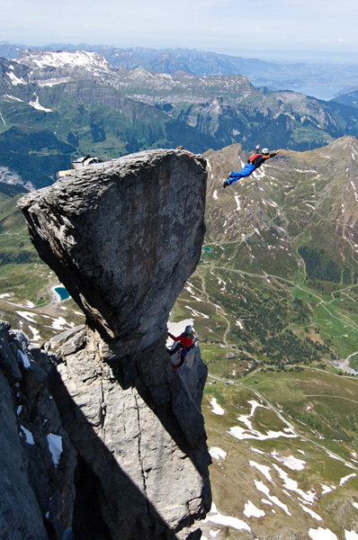 Stephan Siegrist BASE jumping off the Magic Mushroom, Eiger, Thomas Senf