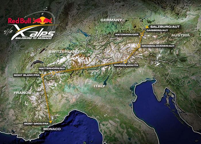 Il percorso del RED BULL X-ALPS 2009, arch. Red Bull