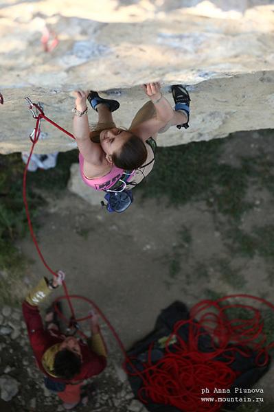 Zhenja Kazbekova climbing Catapult, 7c+, Red Stone, Crimea, Anna Piunova