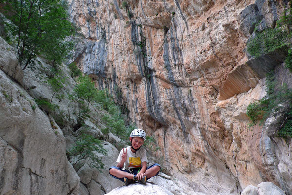 Alessandro Larcher at the end of the Gole di Gorropu, arch. R. Larcher