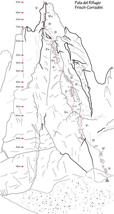 Frisch - Corradini, NW face of Pala del Rifugio, (Val Canali, Pale di San Martino), Dolomites, Italy, Planetmountain.com