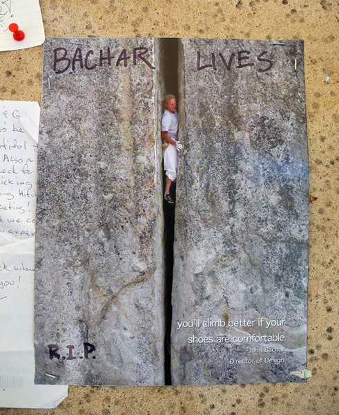 Photo of John Bachar posted at Tuolumne Meadows after his death., archivio Bachar