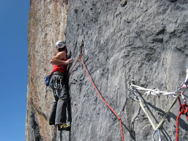 Paolo Spreafico on the third pitch of Batman, Wenden, Switzerland, Adriano Carnati