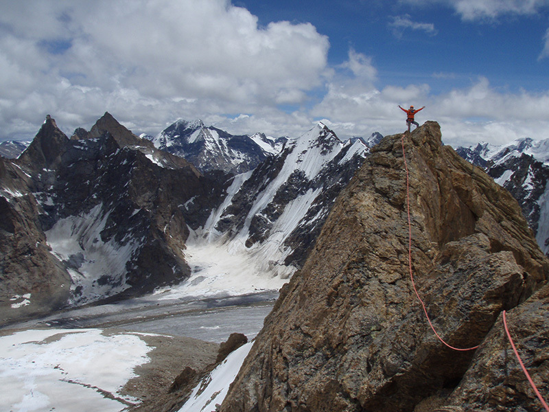 Anastasija Davidova during the first ascent on Kumchu Ri 6064m, Zanskar, India