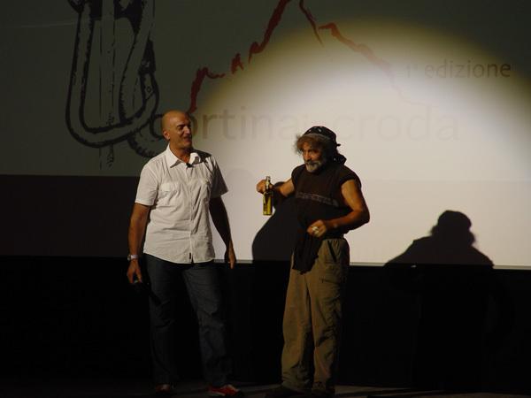 Maurizio Corona ed Andrea Gris durante Cortina inCroda 2009, archivio Scoiattoli