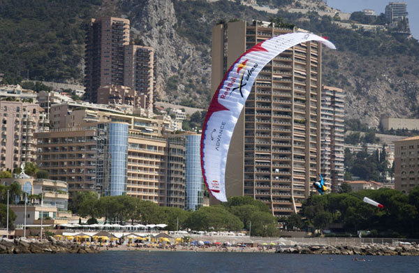At 11:24 Christian 'Chrigel' Maurer (SUI3) landed in Monaco to become the 2009 Red Bull X-Alps Champion., Photos ©Dean Treml/ Red Bull Photofiles