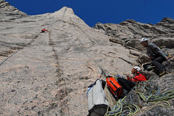Simone Pedeferri, Matteo Della Bordella, Lorenzo Lanfranchi and Richard Felderer recently carried out the first ascent of 5 new routes in eastern Greenland., Richard Felderer